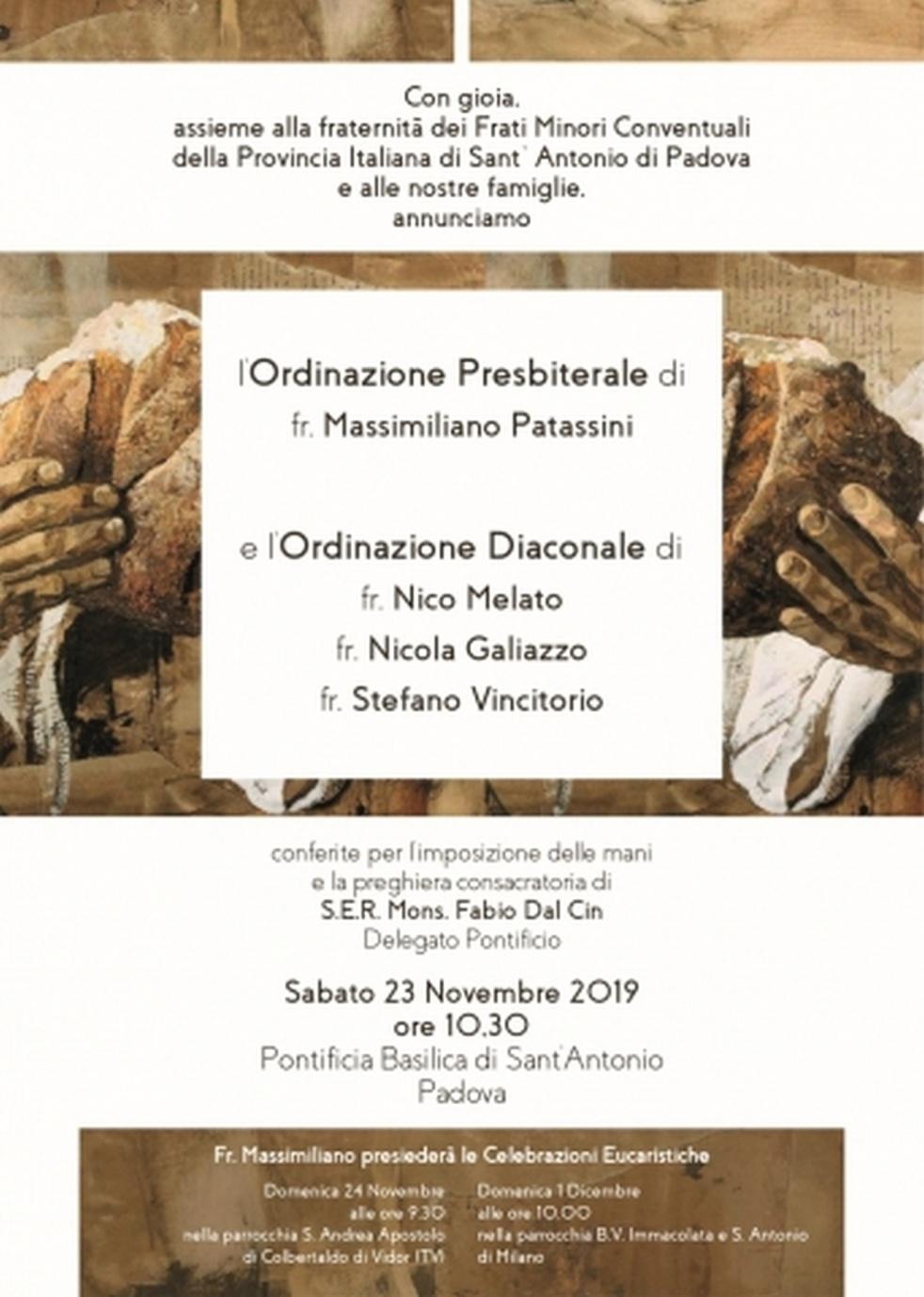 20191123 - Ordinazioni al Santo - Cover Image