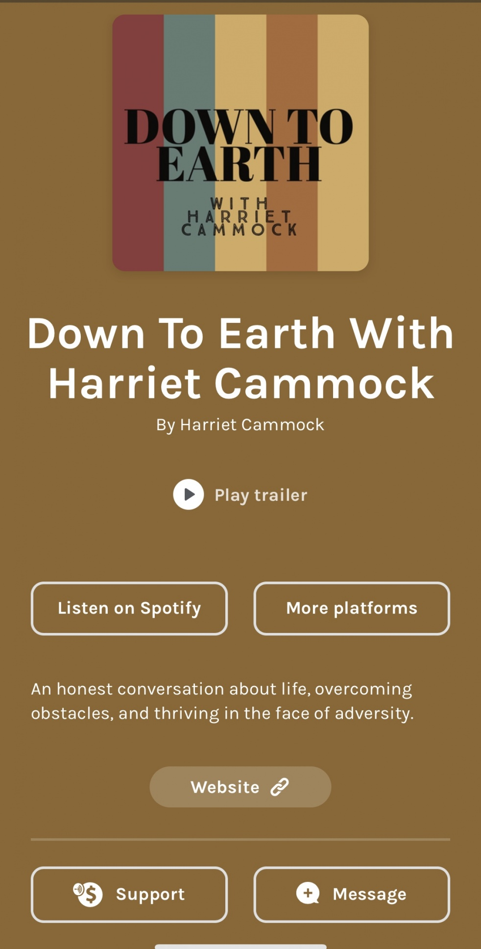 Down To Earth With Harriet Cammock - Cover Image